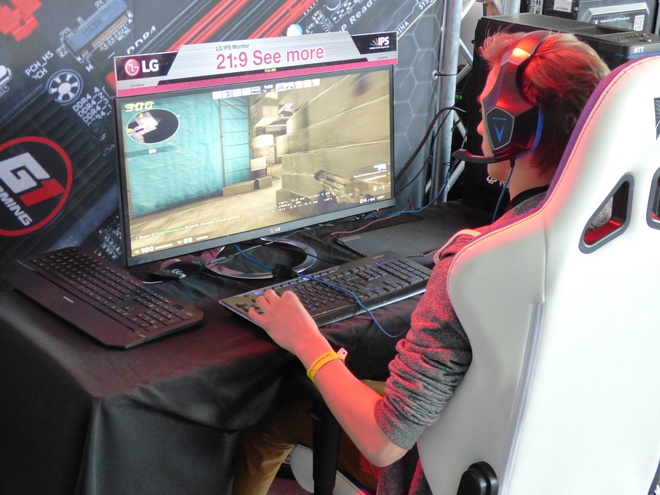 man playing computer game